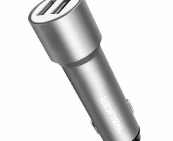 АЗУ адаптер WALKER WCR-22 2 разъема USB 2.4A удлиненный корпус серебро