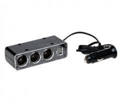 РАЗВЕТВИТЕЛЬ на 3  ПРИКУРИВАТЕЛЯ с проводом (1 USB, 0,5A)